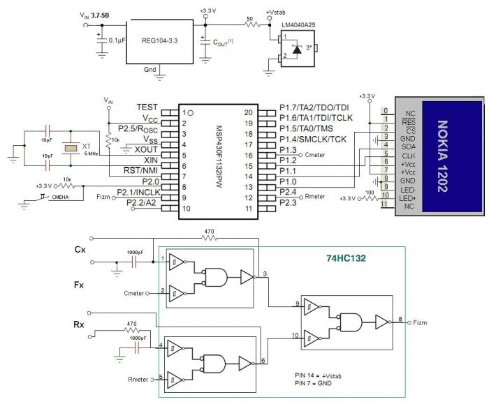 Принципиальная схема RCF метра на MSP430 и Nokia1202