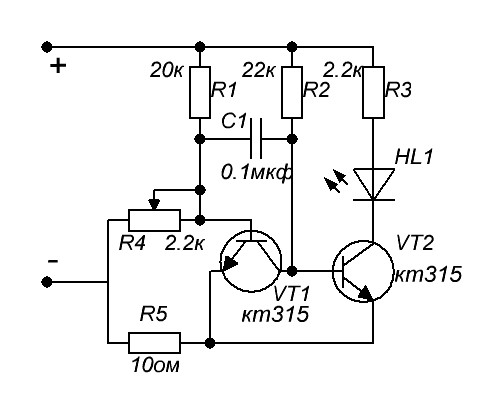 Напряжение питания зависит от транзисторов и параметров деталей.  В моем случае с транзистором КТ315Б напряжение не...