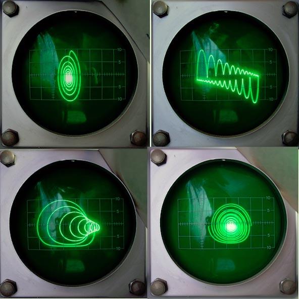 Разнообразные формы сигналов на экране осциллографа