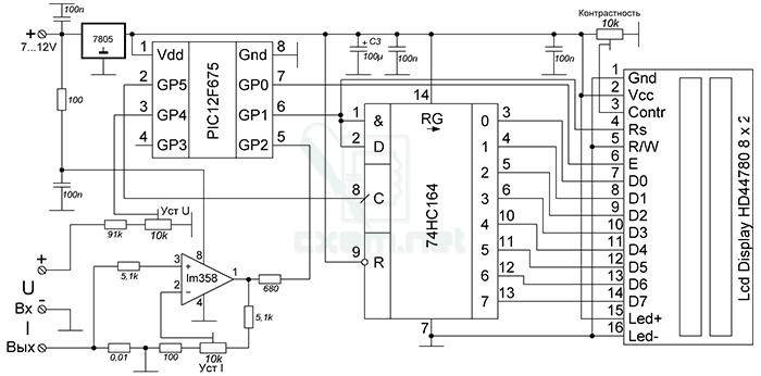 Ампервольтметр на PIC12F675 - cxem.net