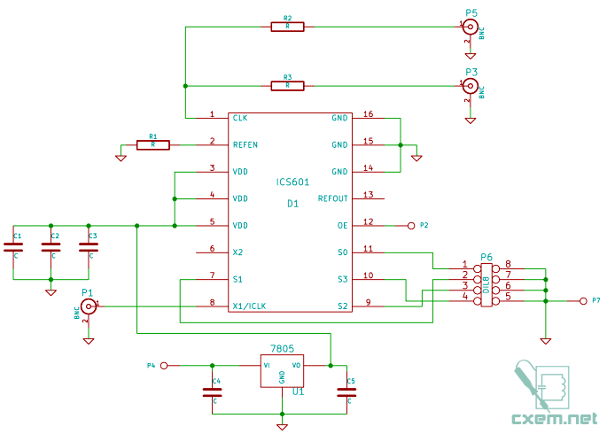 Схема простого умножителя частоты на ICS601-01