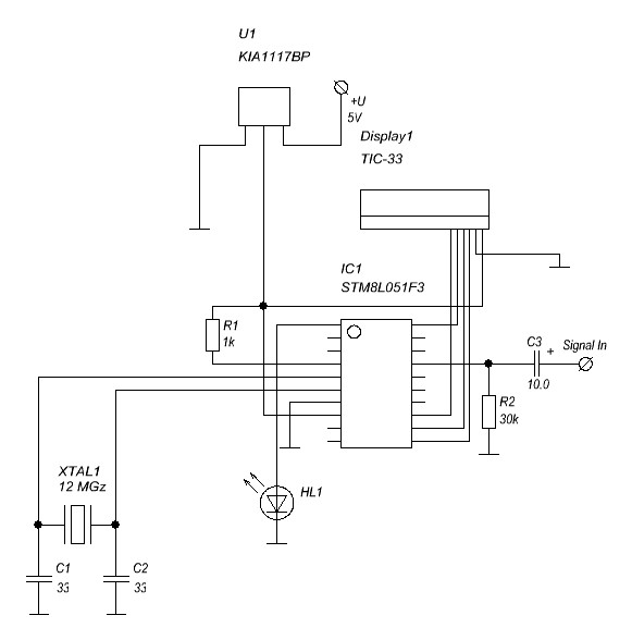 Схема частотомера на STM8