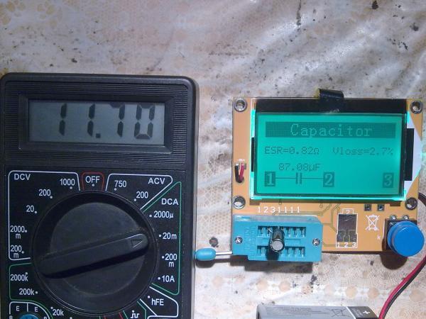 Потребление тока во время проверки конденсатора