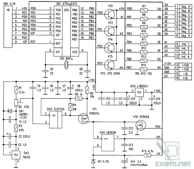 Схема цифрового амперметра