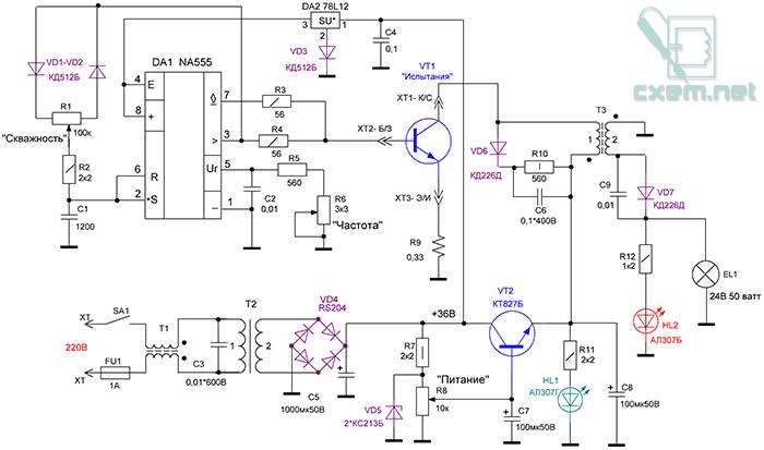 Схема станции для диагностики мощных транзисторов