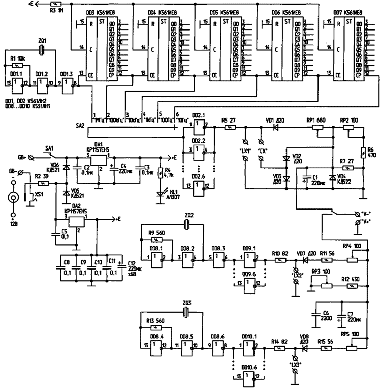 На микросхеме DD1, резисторе