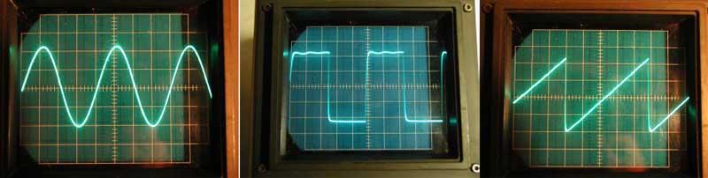 DDS генератор.  Формы сигналов генератора: синус, прямоугольник, пила.