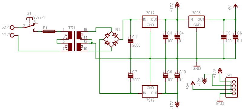 Схема блока питания DDS-генератора