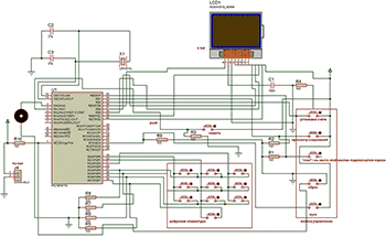 Принципиальная схема счетчика количества витков на микроконтроллере.  Нажмите для увеличения.