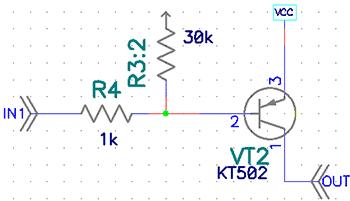 Схема транзисторного ключа.