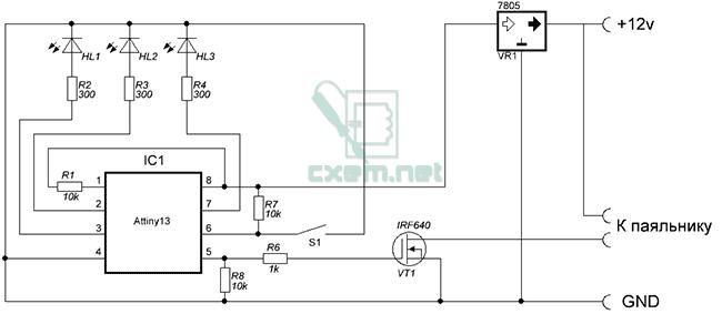 Схема регулятора температуры для 12В паяльника.