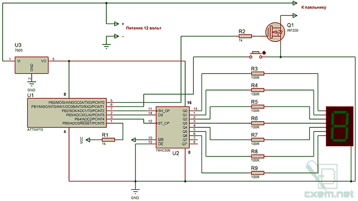 Регулятор температуры для паяльника на 12 вольт с индикацией уровня на семисегментном индикаторе.