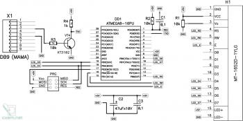 Схема устройства отображения информации на LCD-дисплее 16x2 с контролером HD44780