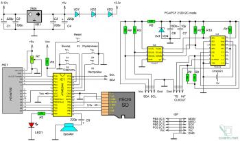 Схема говорящих часов на AVR-микроконтроллере