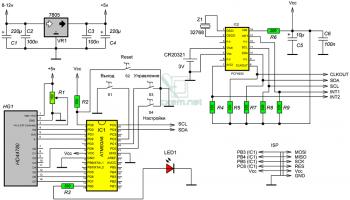Схема часов на PCF8523