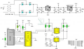 Схема устройства на AVR микроконтроллере ATmega8