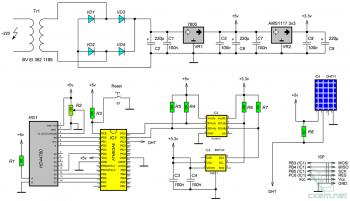 Схема комнатной метеостанции на AVR-микроконтроллере
