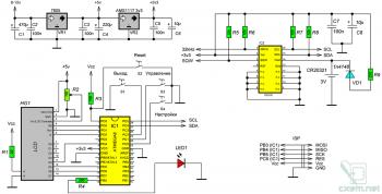 Схема часов на микросхеме DS3231 и AVR-микроконтроллере