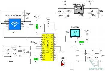 Схема подключения ESP8266 к AVR-микроконтроллеру