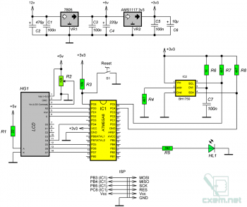 Схема регулятора яркости подсветки на датчике BH1750