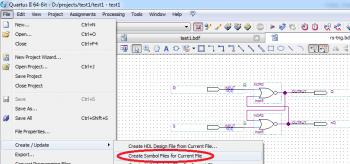 Создаем новый модуль, помещаем туда RS-триггер и создаем Symbol File