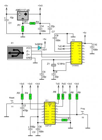 Схема для модуля ESP-07