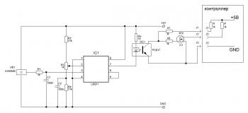 Вариант схемы с выходом на полевом N-канальном транзисторе с дополнительной гальванической развязкой