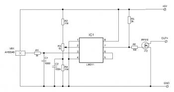 Вариант схемы с выходом на полевом N-канальном транзисторе без дополнительной опторазвязки