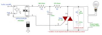 Схема с применением оптопары с симисторным выходом и снабберной цепи