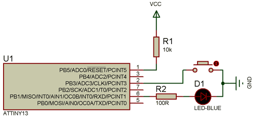 Схема контроллера светодиодного фонарика в Proteus