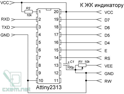 Схема переходника ЖКИ HD44780 в UART