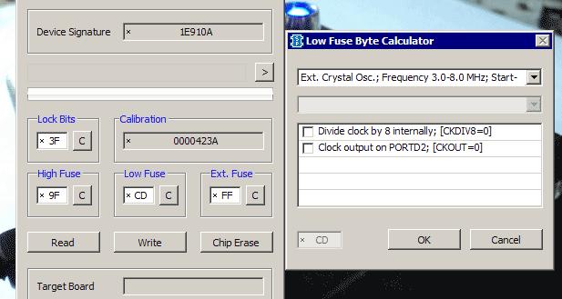 Пример установки фьюз-битов на внешний кварц 4МГц