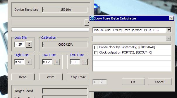 Пример установки фьюз-битов на внутренний тактовый генератор 4 МГц