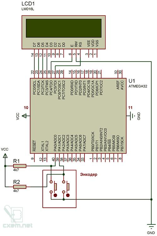 Схема с применением энкодера