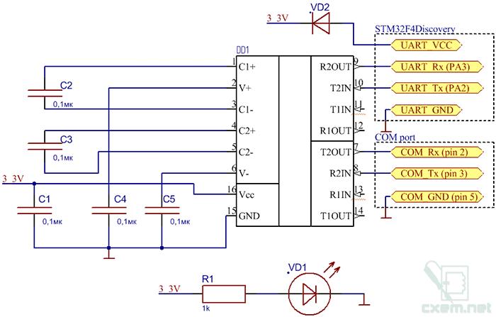 Схема переходника показана на