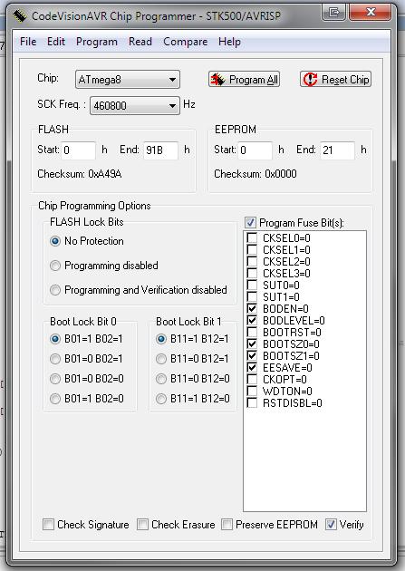 Скриншот фьюзов для CodeVisionAVR