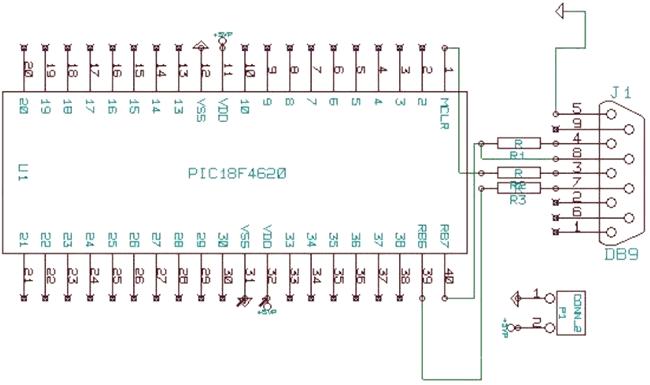DB9 и PIC-контроллером.