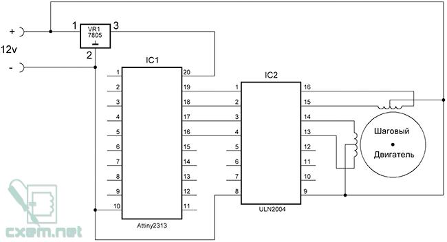 Схема тестера униполярных шаговых двигателей