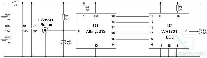 Принципиальная схема считывателя электронных ключей iButton