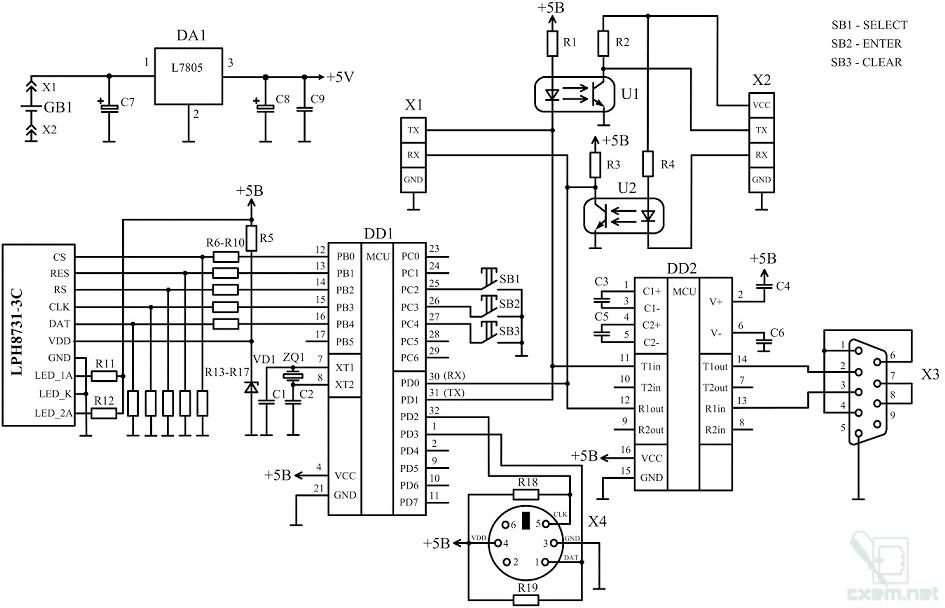 контроллер Atmega8A.