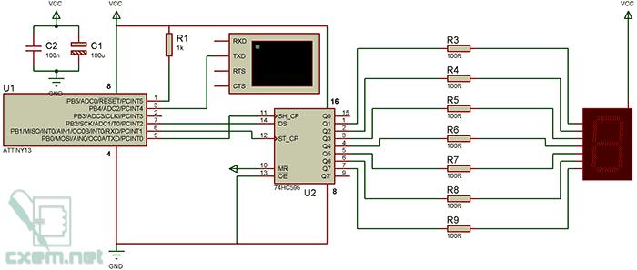 Схема подключения семисегментного индикатора по UART на Attiny13