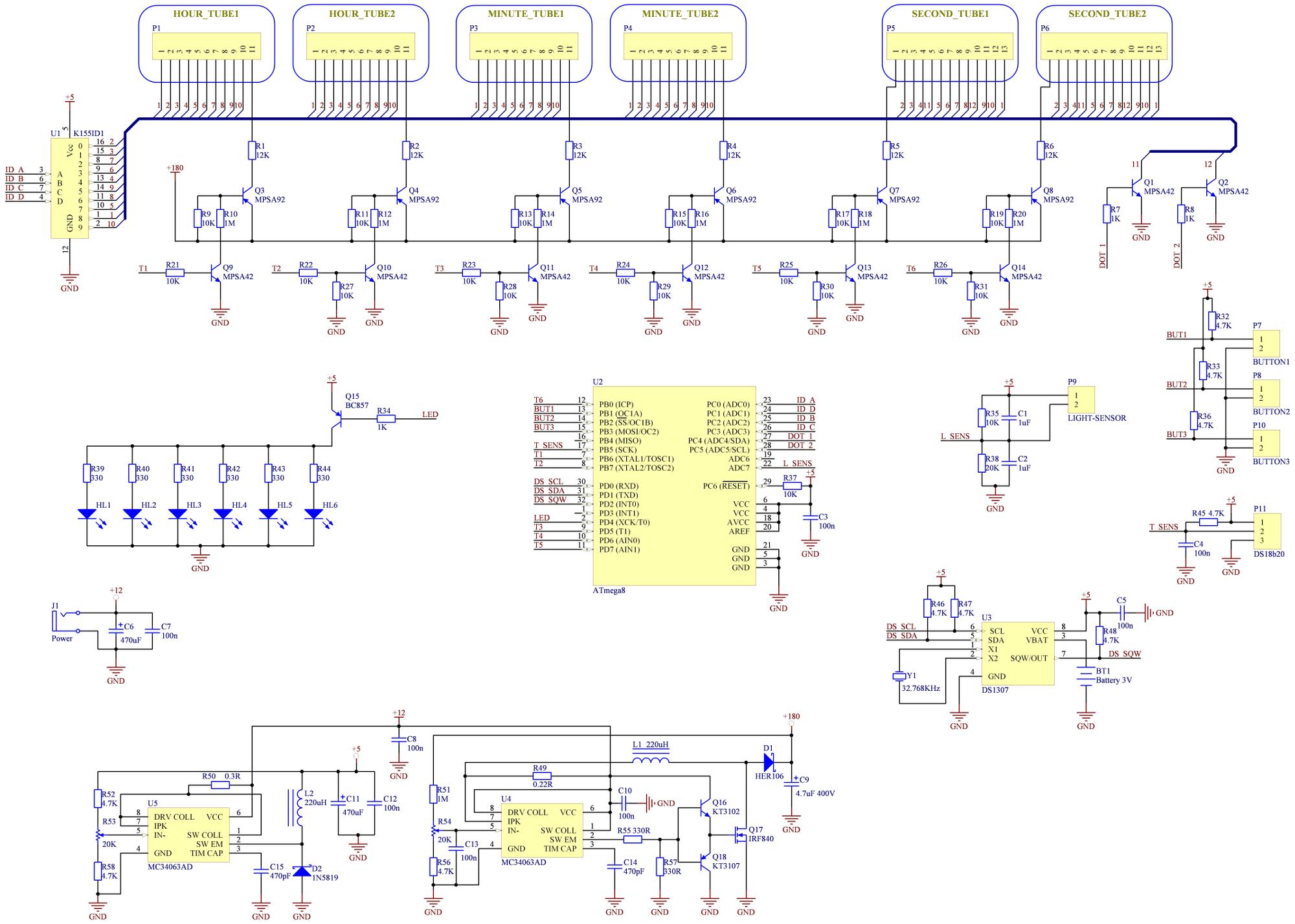 Схема часов на газоразрядных индикаторах фото 303