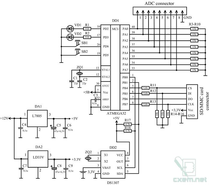 Схема даталоггера
