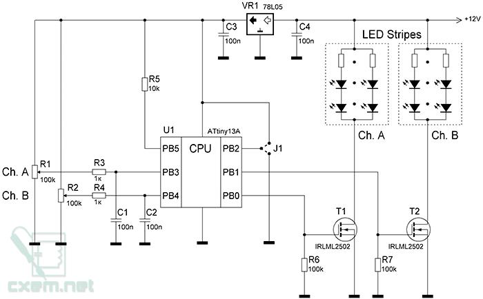 Схема ШИМ-регулятора на AVR