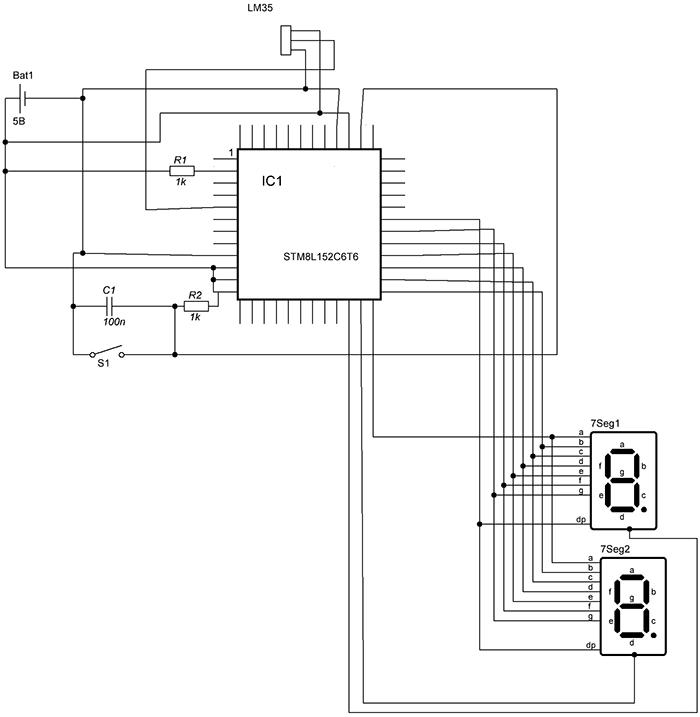 Схема термометра на STM8L-Discovery
