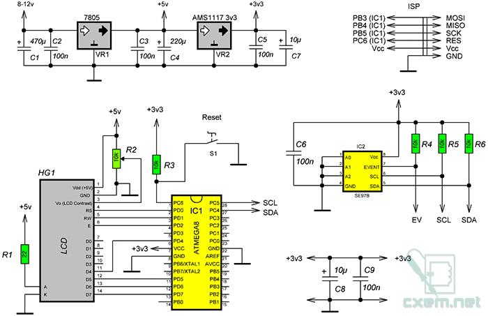 Схема термометра на датчике SE97B и AVR-микроконтроллере
