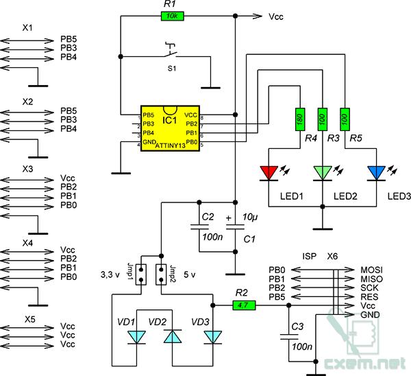 Схема отладочной платы для микроконтроллеров ATtiny13/15