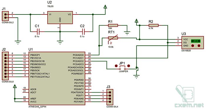 Схема декоративного термометра на AVR-микроконтроллере