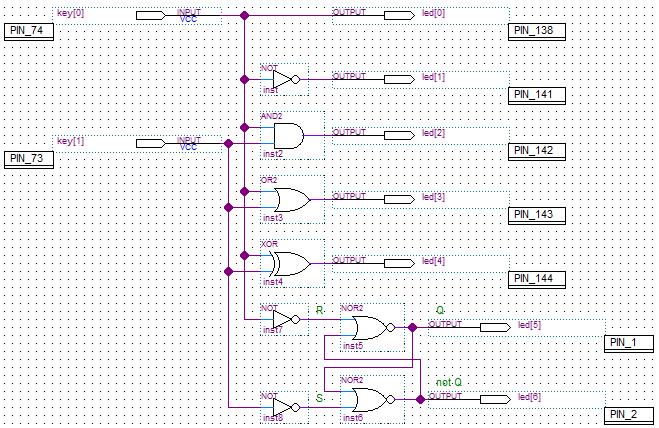 Схема с основными логическими элементами и реализация RS-триггера