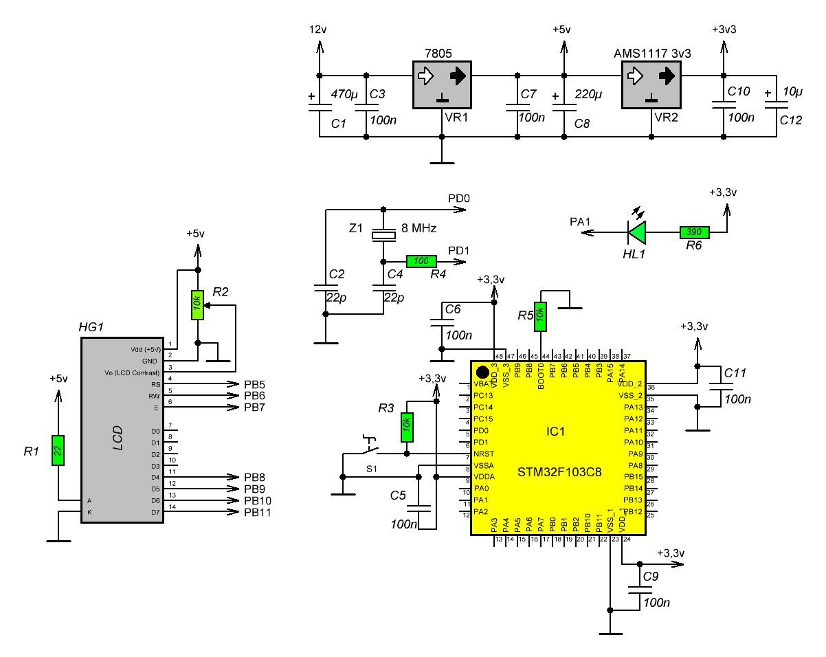 управление светодиодом stm32 схема